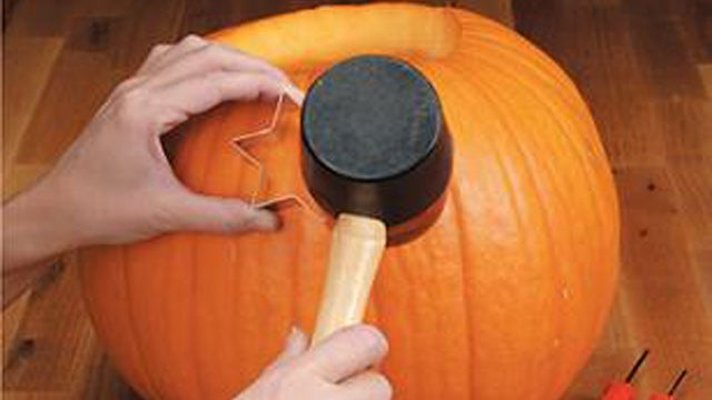 Carve Pumpkins with Cookie Cutters and a Mallet
