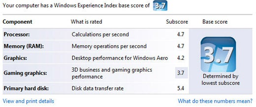 Vista Grades You With The Windows Experience Index