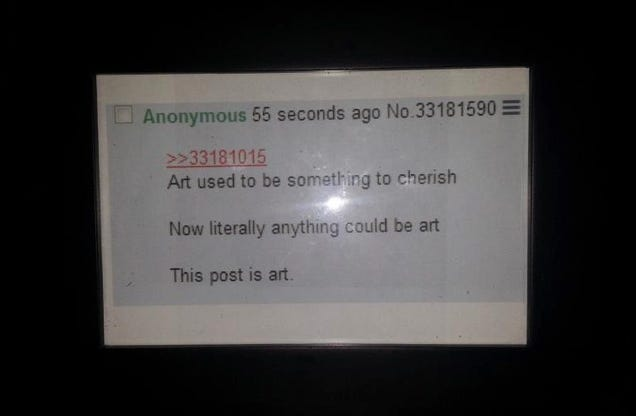 A Framed Printout of a 4chan Screenshot Just Went for $90,000 on Ebay