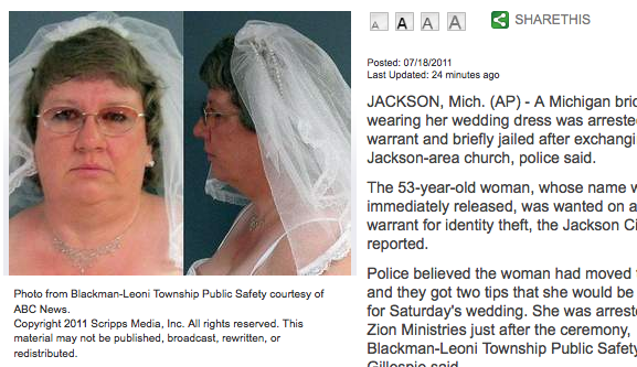 Michigan Bride Arrested Immediately After Her Wedding
