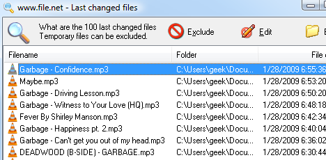 Last Changed Files Finds the Document You Just Lost