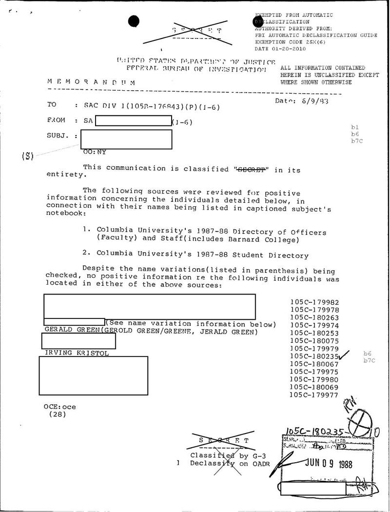 Irving Kristol's FBI File