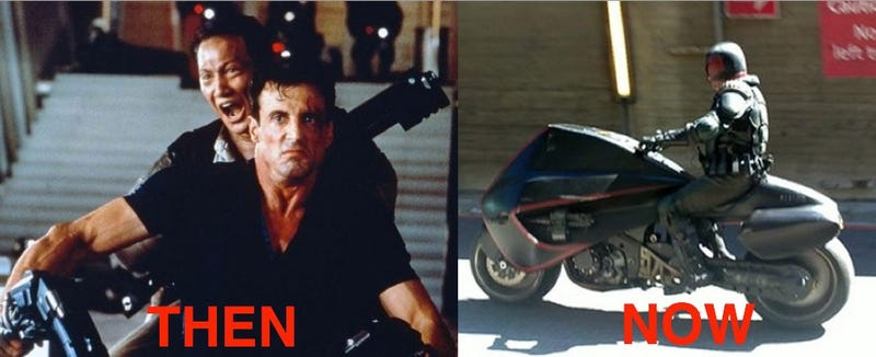 New look at the rebooted Judge Dredd's suit and lawmaster bike