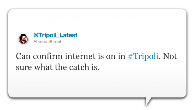 Someone in Tripoli Keeps Trying to Turn the Internet Back On