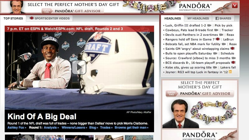 Ad On ESPN Homepage: Nothing Says Mother's Day Like The Gift Of Mel Kiper's Hair