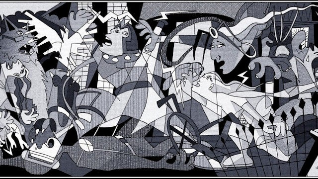 Picasso 39 s guernica now featuring the x men for Mural guernica
