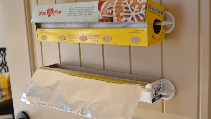 Organize Foil and Plastic Wrap with Adhesive Hooks