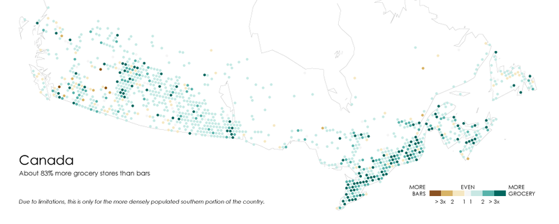 A Map Of Where Bars Outnumber Grocery Stores