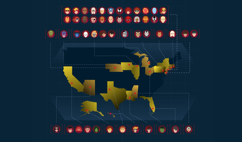 An Astonishing Global Map of Marvel Character Origins