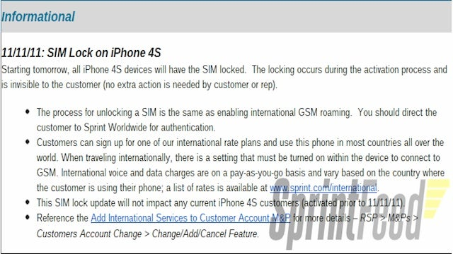Starting Today, the Sprint iPhone 4S SIM Slot Will Be Locked