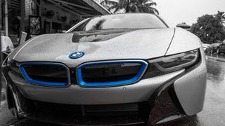 """BMW i8 South Beach rehash: I received some comments that my prior post processing which utilized HDR were too """"overdone"""". I revisited the images over the weekend and decided to remove all color except the blue and red which I sought to emphasize, here are the results;"""