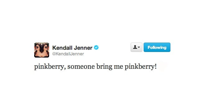 Her Highness Kendall Jenner Demands Exotic Treat Called Pinkberry
