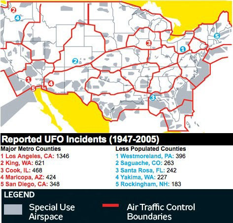 A Map of UFO Sighting Hot Spots in America