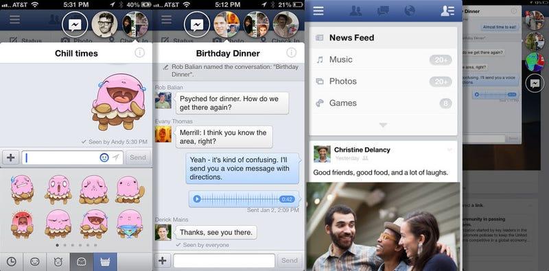 """Ya puedes probar en tu iPhone las """"Chat Heads"""" de Facebook Home"""