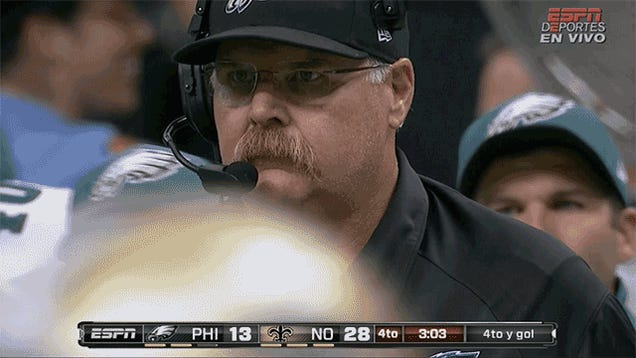 Andy Reid Watching Mike Vick Get Sacked Seven Times Looks A Lot Like A Bullfrog Doing Nothing: Eagles-Saints, In Two GIFs