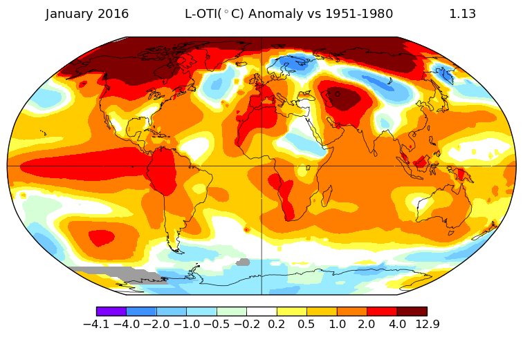 January 2016 hottest ever recorded