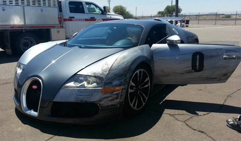 A $1.6 Million Bugatti Veyron Just Hit The Wall On A Track In Arizona