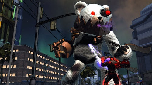 Giant Evil Robot Teddy Bear Attacks Champions Online