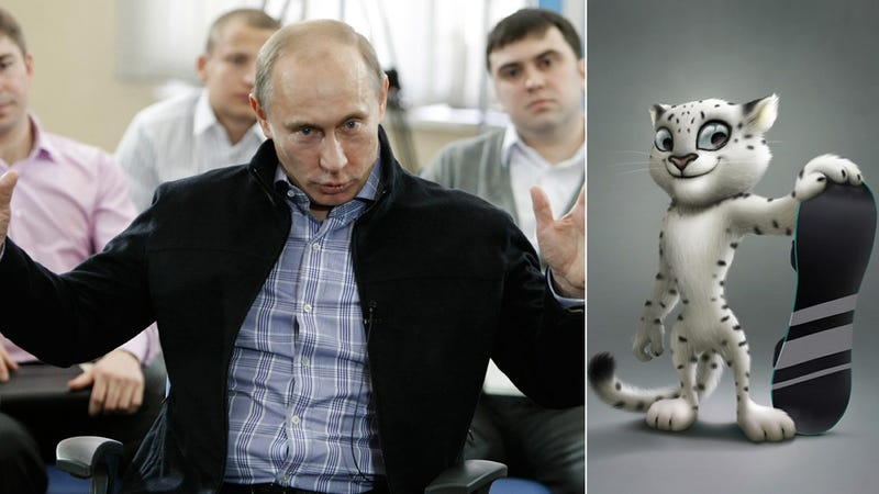 Russian Prime Minister 'Frolics' With Snow Leopard