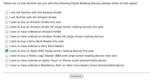 "Borders Bookstores Includes Mysterious ""Apple iPAD"" in Survey"