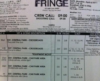 Fringe Production Call Sheet