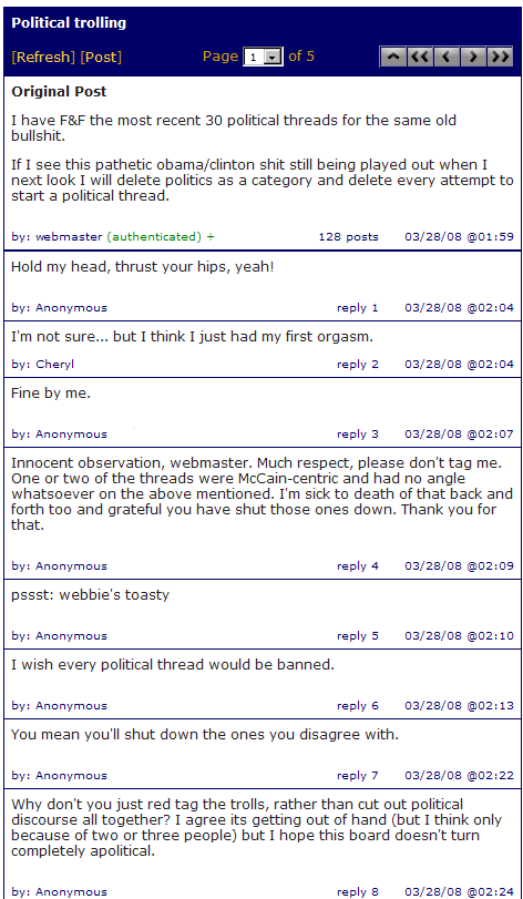 Datalounge Gays Can't Have Nice Things, Political Threads