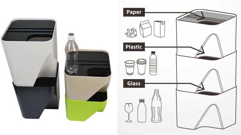 These Stacking Bins Make Separating Papers and Plastics a Cinch