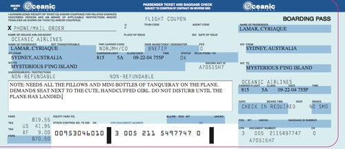 Make your own Oceanic Airlines ticket for tonight's Lost finale