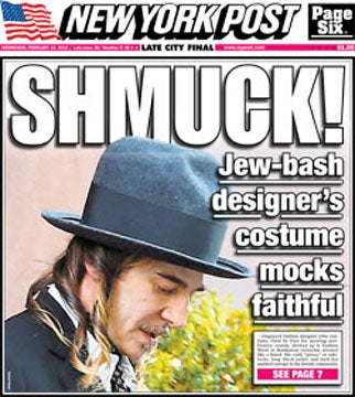 New York Post Manufactures New Controversy Over 'Jew-Bash Designer' John Galliano