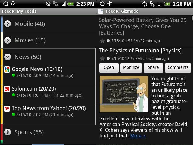 Five Best Android Newsreaders