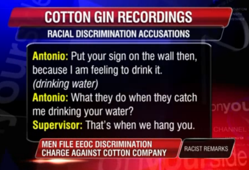 Black Men Working at Cotton Gin Told Water Fountain Is For Whites Only