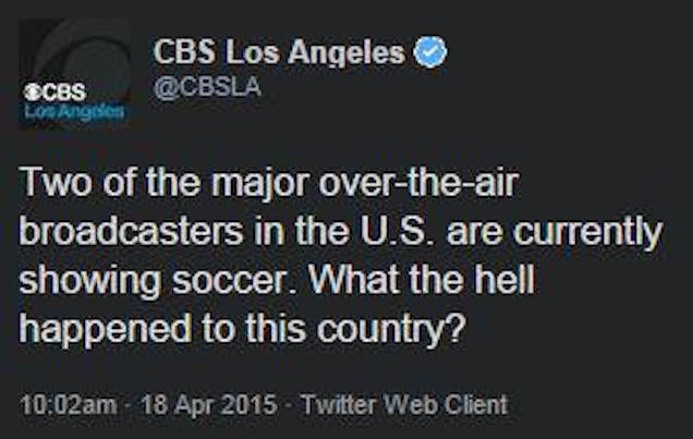 CBS Los Angeles Doesn't Get Soccer, Irony