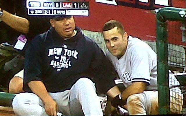 Here's A Picture Of An Amorous Moment Between A Yankees Starting Pitcher And Backup Catcher