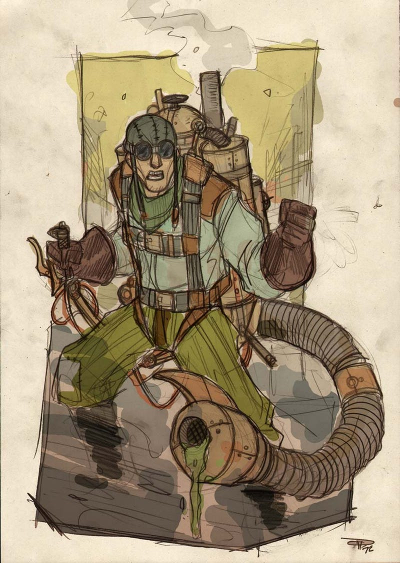 Steampunk Spider-Man and his nemesis, Victorian-era Doctor Octopus