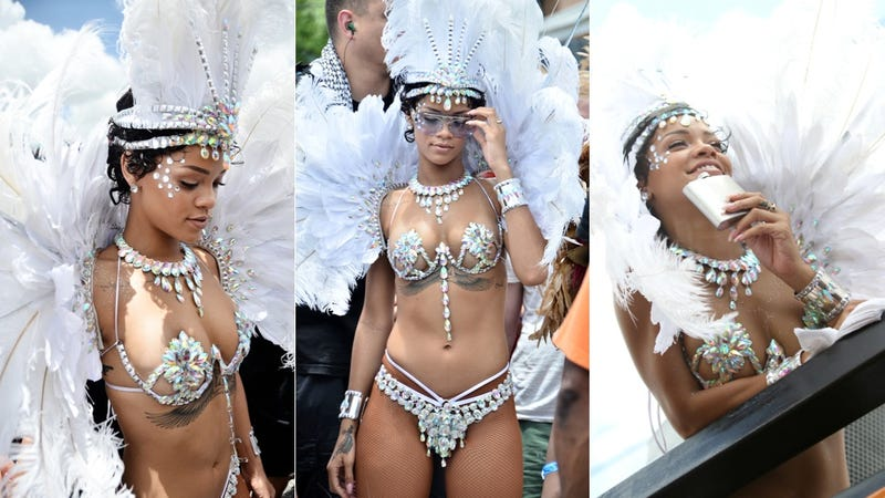 Rihanna's at a Carnival in Barbados With a Flask and Bejeweled Breasts