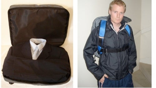 Suit In A Backpack Keeps Clothes Wrinkle and Sweat Free