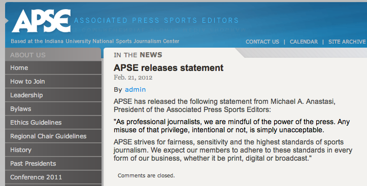 The Associated Press Sports Editors Are Against Something