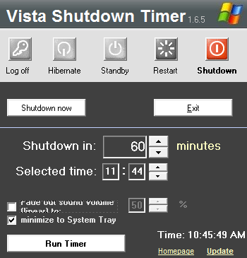 Vista Shutdown Timer Turns Off Your PC For You