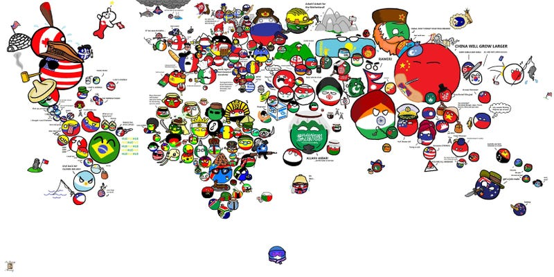 The Polandball map of the world.