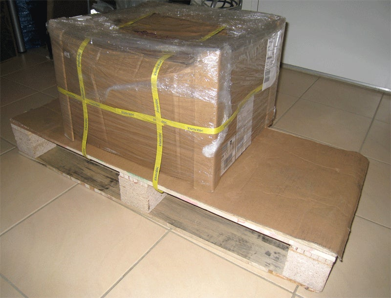 HP Ships Power Cord in Giant Box With Attached Pallet