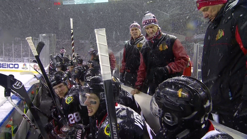 Blackhawks Score First Goal In Stadium Series Snowstorm