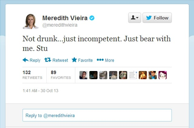 Meredith Vieira Swears She Wasn't Drunk When She Tweeted This Mess