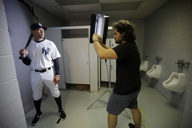 The Yankees Take Their Media Day Photos In The Men's Room