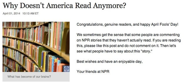 NPR Pulled a Brilliant April Fools' Prank On People Who Don't Read
