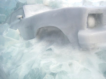 Chevy Nova Completely Frozen, Art Flourishes In The Upper Peninsula