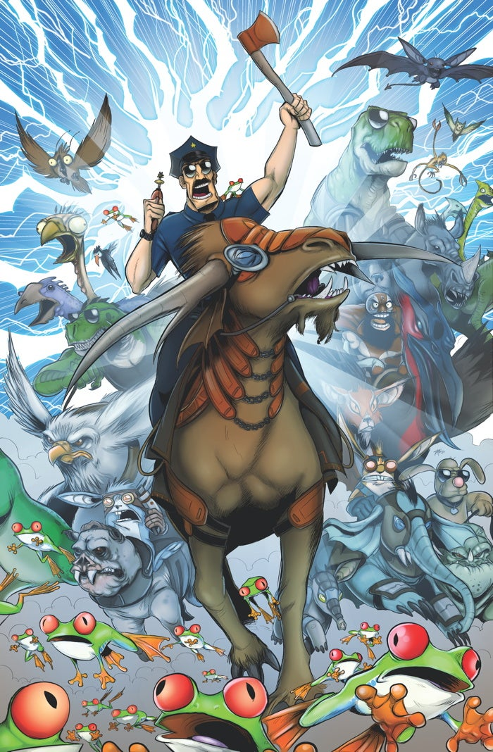 In this exclusive artwork, Axe Cop and Conan the Barbarian will chop your head off