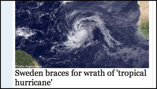 Sweden Gets a 'Tropical Hurricane'