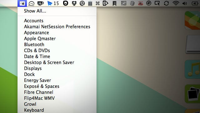MenuPrefs Puts the Mac OS X System Preferences in Your Menubar