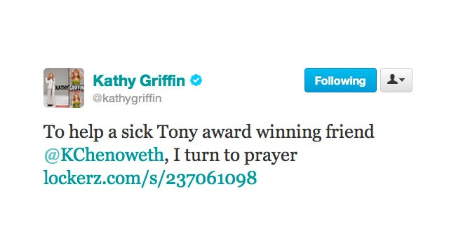 Kathy Griffin Prays for Poor, Injured Kristen Chenoweth