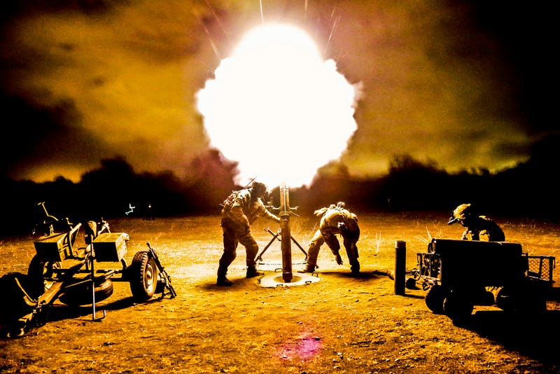 Firing mortar at night can result in a beautiful tree of fire